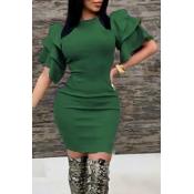 Sexy Rundhalsausschnitt Rüschenärmel Grün Polyester Knielanges Kleid