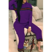 Leisure Hooded Collar Patchwork Purple Cotton Two-piece Pants Set