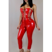 LovelySexy Strapless Lace-up Hollow-out Red Leather One-piece Jumpsuits