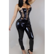 Sexy Strapless Lace-up Hollow-out Black Leather One-piece Jumpsuits