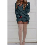 Casual Hooded Collar Letters Printed Dark Green Polyester Mini Dress
