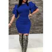 Sexy Round Neck Ruffle Sleeves Royalblue Polyester Knee Length Dress
