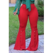 Stylish Mid Elastic Waist Buttons Decorative Red Polyester Flared Trousers