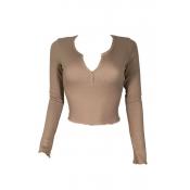 Stylish V Neck Long Sleeves Khaki Cotton Sweaters