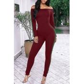 Stylish Bateau Neck Striped Wine Red Cotton Blends One-piece Jumpsuits