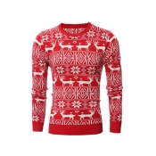 Casual Round Neck Long Sleeves Printed Red Cotton