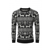 Casual Round Neck Long Sleeves Printed Black Cotto