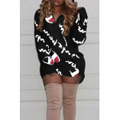 Casual Hooded Collar Letters Printed Black Polyester Mini Dress