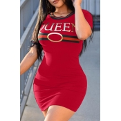 Sexy Round Neck Letters Printed Red Polyester Mini Dress