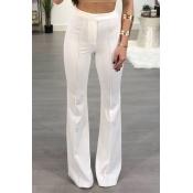 Stylish High Waist White Blending Flared Trousers