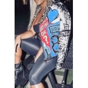 Chic Turndown Collar Long Sleeves Printed Blue Polyester Zipped Coat