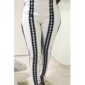 Stylish Mid Elastic Waist Lace-up White Leather Pa