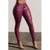 Fashion High Waist Wine Red Leather Zipped Pants