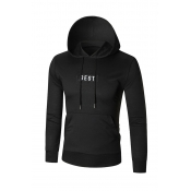 Leisure Hooded collar Letters Printed Black Cotton