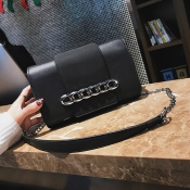 Fashion Chain Decoration Black Leather Crossbody B