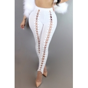 Fashion High Elastic Waist Lace-up White Polyester