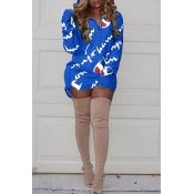 Casual Hooded Collar Letters Printed Blue Polyester Mini Dress