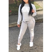 Casual Round Neck Letters Printed Grey Polyester Two-piece Pants Set