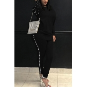 Casual Round Neck Pearl Decoration Black Blending Two-Piece Pants Set