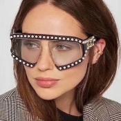 Модная Жемчужная Отделка Большой Дизайн Рамки Черный ПК Солнцезащитные Очки
