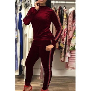 Casual Round Neck Patchwork Wine Red Velvet Two-Piece Pants Set