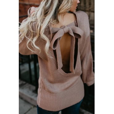 Lovely Sexy Round Neck Back Bow-Tie Hollow-out Design Pink Acrylic Sweaters