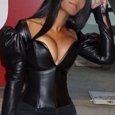 Moda Cuello En V Puff Mangas Cremallera Diseño Negro Abrigo De Piel Sintética