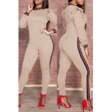 Trendy Round Neck Falbala Design Khaki Polyester One-piece Jumpsuits