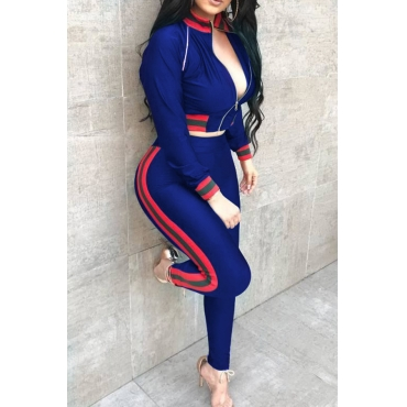 Casual Mandarin Collar Patchwork Royalblue Knitting Two-Piece Pants Set