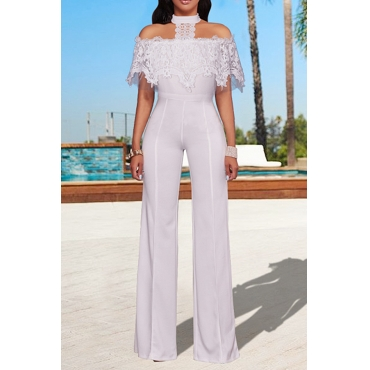Trendy Halter Neck Lace Patchwork Wide-legs Design White Polyester One-piece Jumpsuits