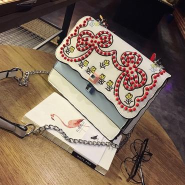 Retro Embroidered Design White PU Crossbody Bag
