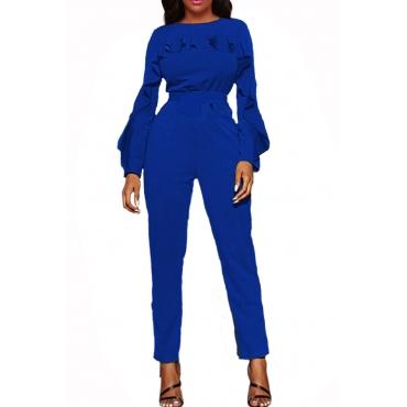 Stylish Round Neck Ruffle Design Blue Polyester One-piece Jumpsuits