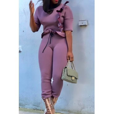 Stylish Round Neck Falbala Design Purple Polyester Two-Piece Pants Set