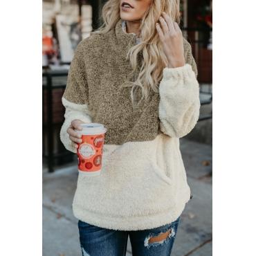 Lovely Leisure Mandarin Collar Long Sleeves Patchwork Dark Coffee Velvet Hoodies