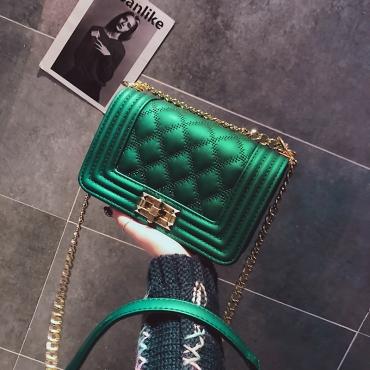Fashion Rhombus Grid Design Green PU Crossbody Bag
