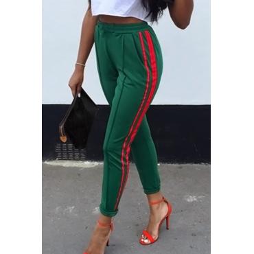 Stylish Mid Elastic Waist Striped Green Cotton Blends Pants