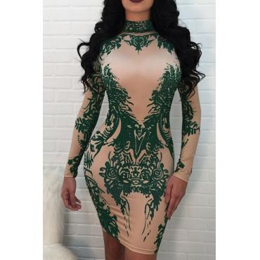 Sexy Mandarin Collar Printed Green Polyester Mini Dress