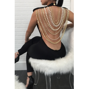 Sexy Round Neck Backless Chain Of Pearls Decoration Black Terylene+Cotton One-piece Jumpsuits