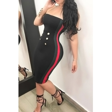 Sexy Bateau Neck Button Decorative Striped Black Polyester Knee Length Dress