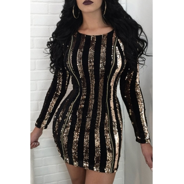 Sexy Round Neck Sequins Decoration Gold Polyester Mini Bodycon Dress