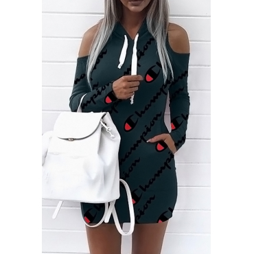 Euramerican Hooded Collar Cold-shoulder Letters Printed Dark Green Polyester Mini Dress(Non Positioning Printing)