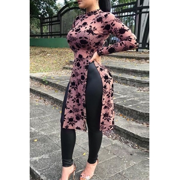 Stylish Round Neck Floral Printed Side Slit Pink Polyester T-shirt