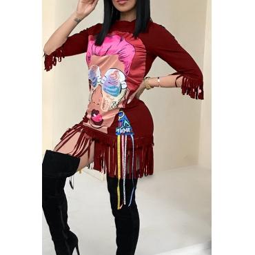 Casal Redondo Redondo Personagens De Desenho Animado Impresso Borracho Franjado Vinho Vermelho Algodão Mistura Mini Vestido