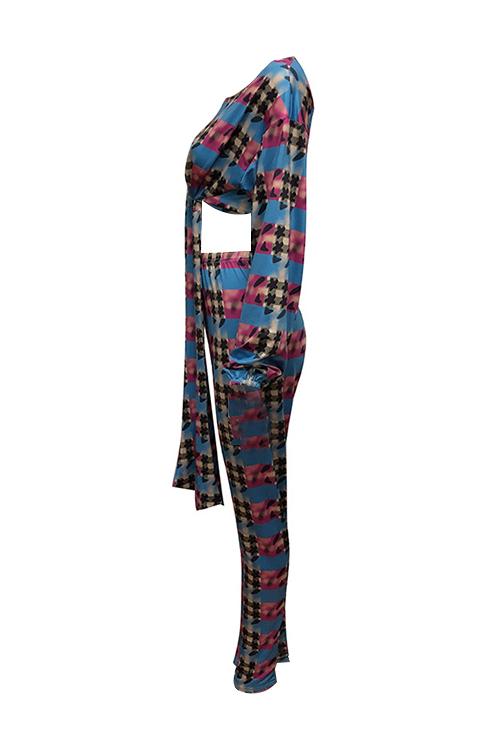 Fashion Round Neck Knot Design Printed Multi Qmilch Two-Piece Pants Set