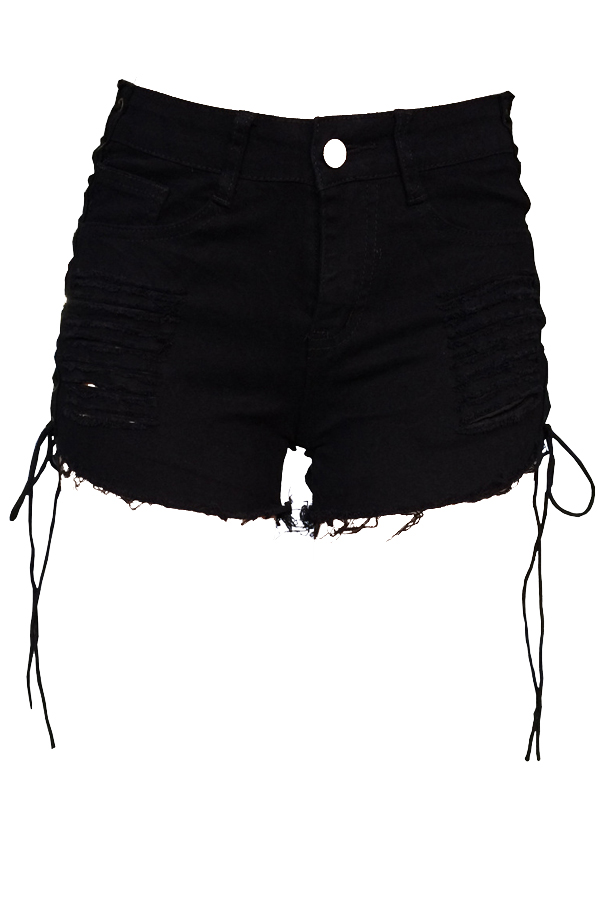 Casual Mid Waist Broken Holes Lace-up Black Denim Zipped Shorts