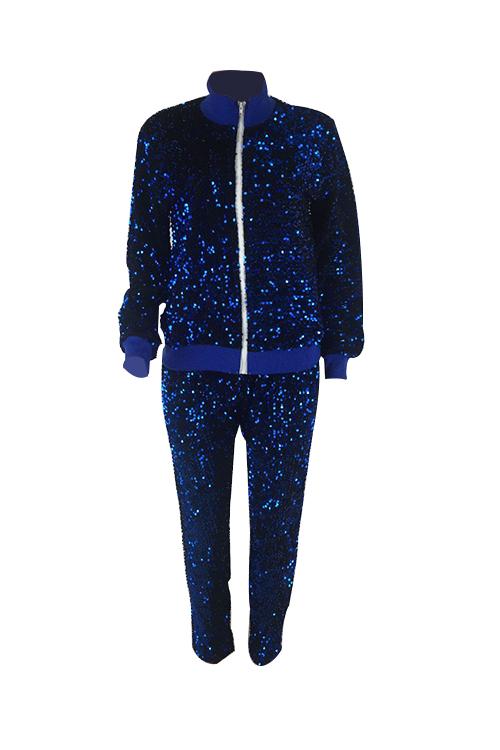 Stilvolle Umlegekragen Pailletten Dekoration Reißverschluss Design Blau Polyester Zweiteilige Hose Gesetzt