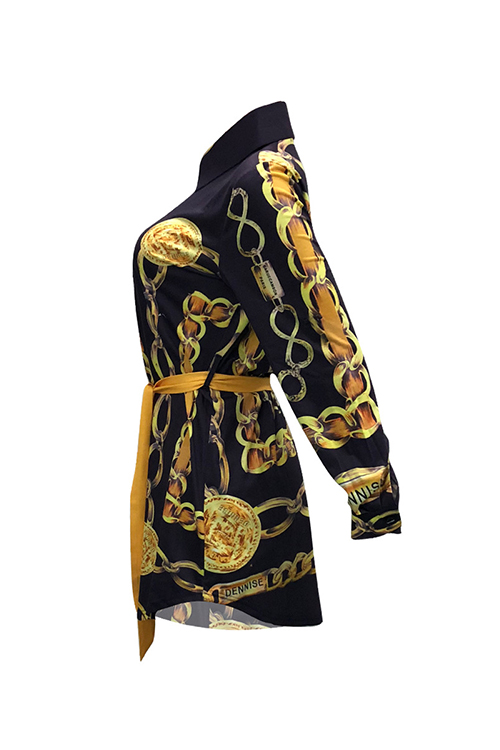 Vestido Informal De Cuello Mini Estampado De Algodón Negro (con Cinturón)