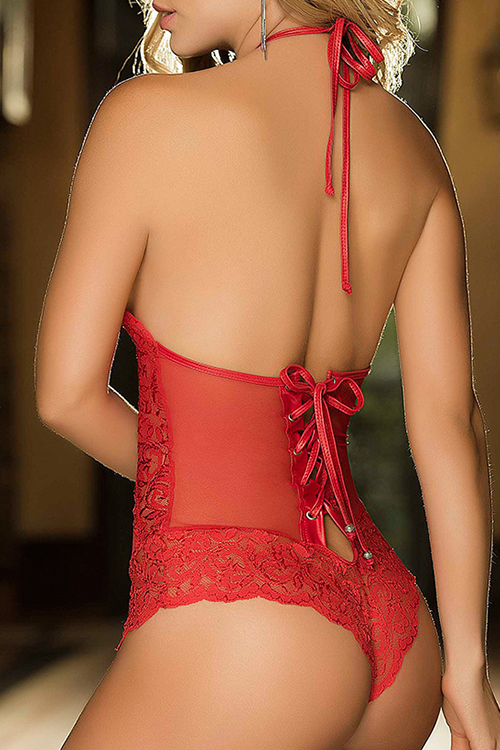 Sexy Halter Neck Backless Lace-up Hollow-out Red Lace Teddies
