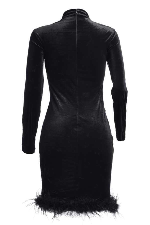 Lovely Sexy Turtleneck See-Through Sequins Decoration MaoMao Hem Black Polyester Knee Length Dress