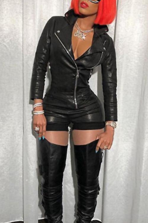 Lovely Fashion Turndown Collar Zipper Design Black PU One-piece Short Jumpsuits